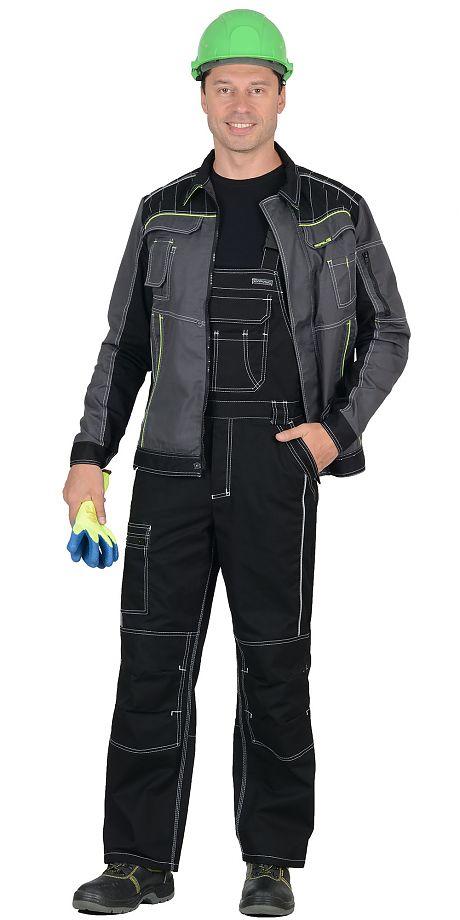 """Костюм """"СИРИУС-Престиж"""" куртка,черный с серым п/к.пл.245"""