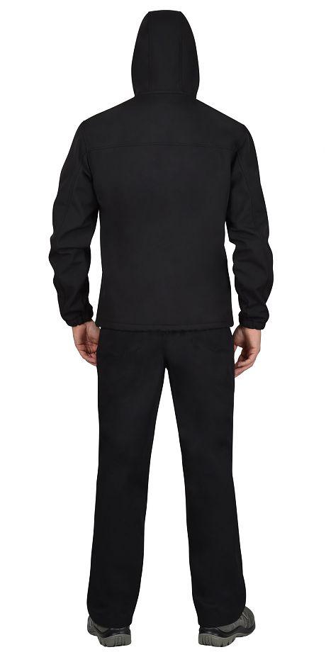 """Куртка """"СИРИУС-Азов"""" с капюшоном черный софтшелл пл 350 г/кв.м"""