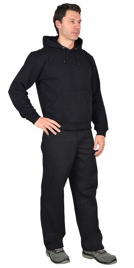 Толстовка с капюшоном черная, х/б-100%
