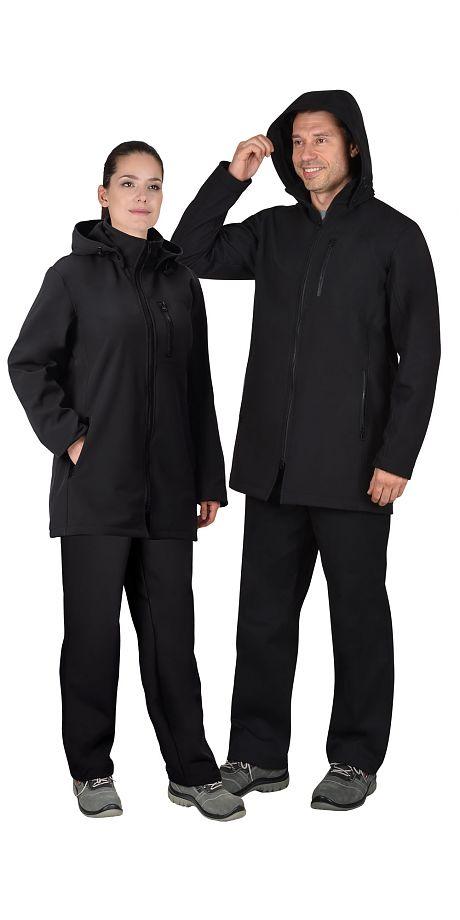 """Куртка """"СИРИУС-Азов"""" удл. с капюшоном черный софтшелл пл 350 г/кв.м"""