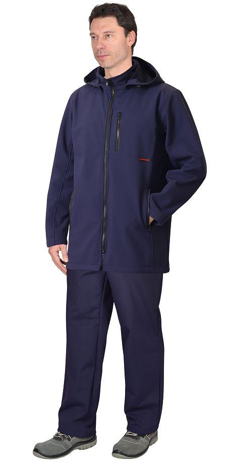 """Куртка """"СИРИУС-Азов"""" удл. с капюшоном синий софтшелл пл 350 г/кв.м"""