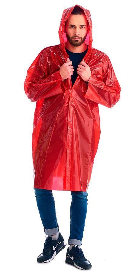 """Плащ-дождевик """"Сириус-Люкс"""" на липучке ПВД 80 мкр. красный, пропаянные швы (х50)"""